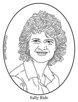 Sally Ride Clip Art, Coloring Page or Mini Poster