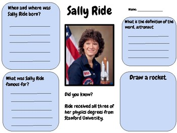 Sally Ride - Research Activity (Women's History Month)