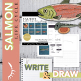 Salmon Life Cycle for Kids Worksheet Directed Drawing Digi
