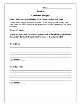 Salome - Character Analysis Activity - Oscar Wilde