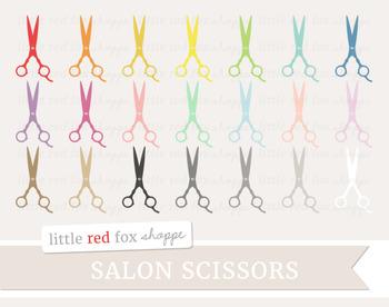 Salon Scissors Clipart; Makeup, Hairdresser, Shears