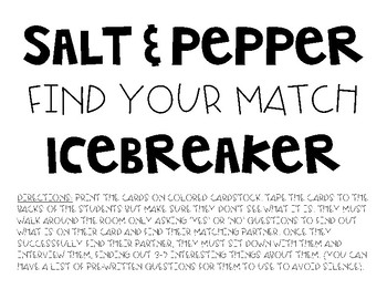 Find your match icebreaker
