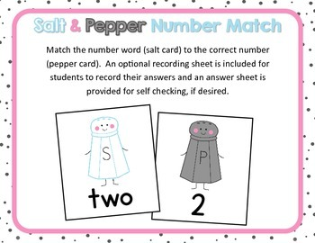 Salt & Pepper Number and Number Word Match