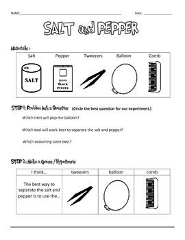 Salt and Pepper Experiment Data Sheets