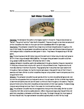 Salt water crocodile - Review Article - Facts Information Questions Vocabulary