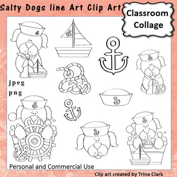 Salty Dogs Clip Art - b/w line drawing - personal & commer