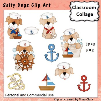 Salty Dogs Clip Art - color - personal & commercial use