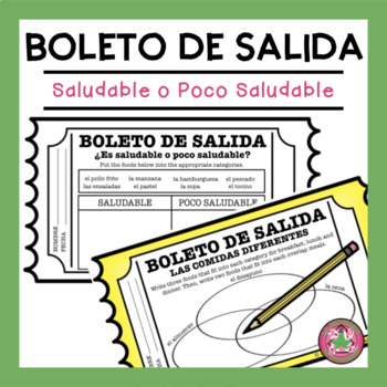 Saludable o Poco Saludable T-Chart and Venn Diagram Exit Slips