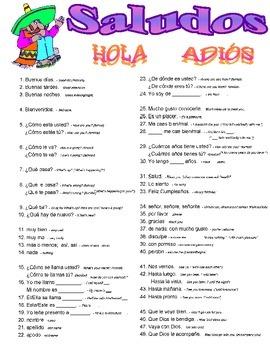 Saludos Greetings Spanish Vocabulary Page