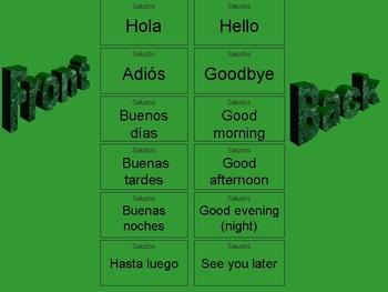 Saludos Spanish Greetings and Goodbyes Flash Cards