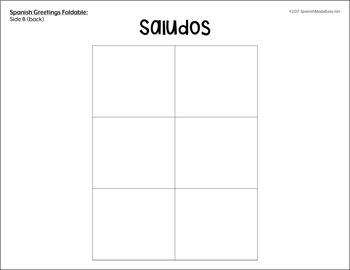 Saludos y Despedidas (Greetings and Farewells) Spanish Interactive Notebook