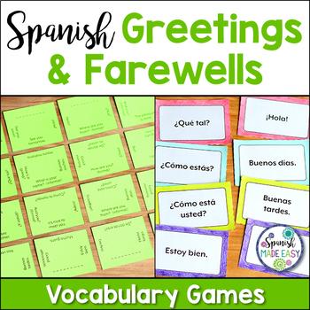Saludos y despedidas teaching resources teachers pay teachers saludos y despedidas greetings and farewells vocabulary games m4hsunfo
