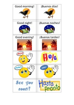 Saludos y Despedidas Spanish Greetings and Goodbyes Matching or Slap Game