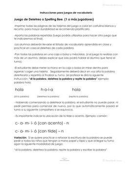 Saludos y Despedidas, Tarjetas de deletreo / Spelling Bee cards in Spanish