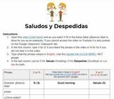 Saludos y despedidas (Spanish greetings and goodbyes) - video worksheet