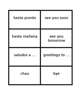 Saludos y despedidas (Greetings in Spanish) Concentration games