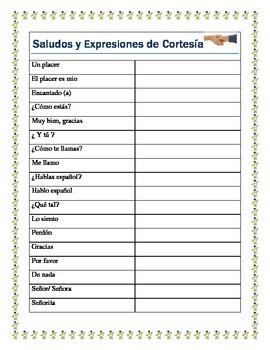 Back to School - Greetings- Saludos y Expresiones de Cortesia-Spanish I