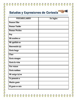 Saludos Worksheets | Teachers Pay Teachers
