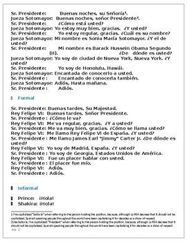 Spanish Greetings and dialogue drills Saludos y presentaciones printables