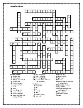 Salutations (Greetings in French) Crossword