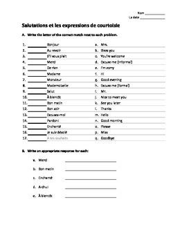 Salutations et les expressions de courtoisie (worksheet)