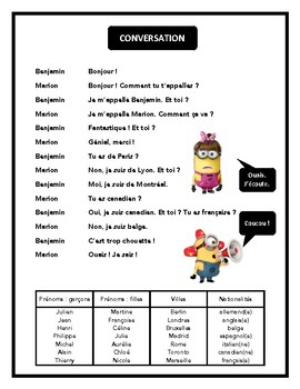 Salutations, nationalités, dialogue in French