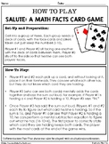 Salute Math Facts Card Game: Addition/Subtraction or Multi