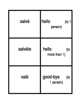 Salutem (Greetings in Latin) Concentration games