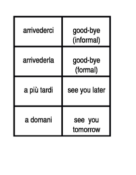 Saluto (Greetings in Italian) Concentration games