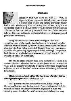 Salvador Dali Biography and Comprehension Questions
