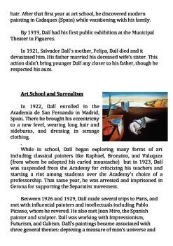 Salvador Dali Biography And Comprehension Questions Tpt