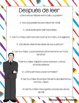 Salvador Dali Comprehensible Input Reading Comprehension Questions in Spanish