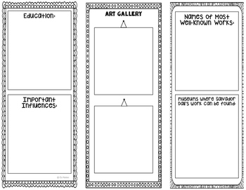 Salvador Dali - Famous Artist Biography Research Project, Interactive Notebook