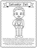 Salvador Dali, Famous Artist Informational Text Coloring Page Craft or Poster