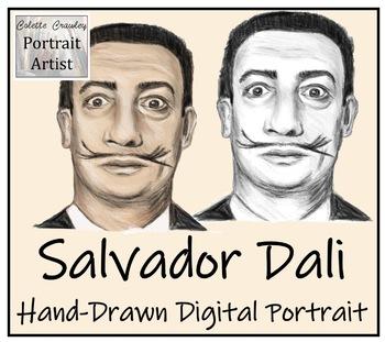 Salvador Dali Hand-Drawn Digital Portrait