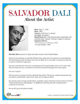 Salvador Dali Surrealism Sculpture Lesson Pack