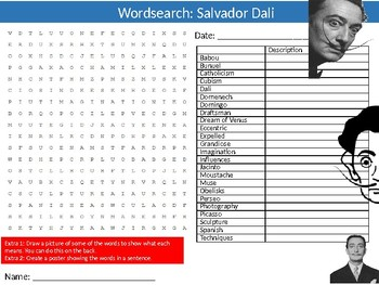 Salvador Dali Wordsearch Puzzle Sheet Keywords Art Artist
