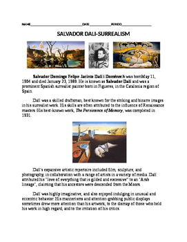 Salvador Dali Worksheet