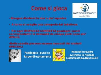 Salvador Dali' gioco a quiz interattivo . Versione modificabile (In italiano)