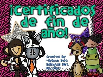 Salvajes Certificados para final del año - Editable