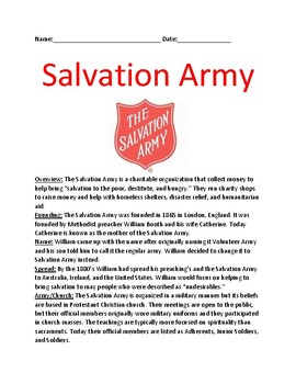 Salvation Army - History Facts Lesson - questions - April 10 holiday