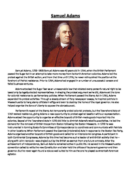 Sam Adams Biography and Questions