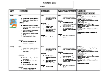 Sam Come Back Complete Weekly Lesson Plan!
