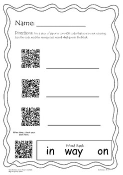 Sam, Come Back QR code with high-frequency words Scott Foresman