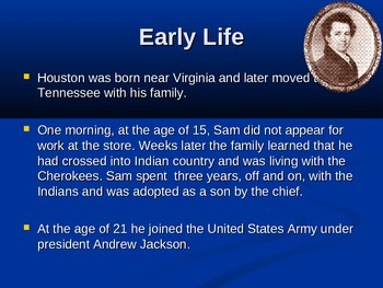 Sam Houston A Texas Hero Editable