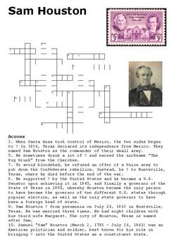 Sam Houston Crossword