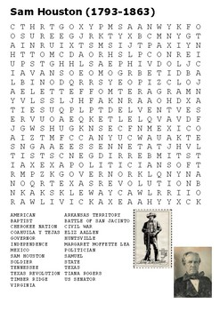 Sam Houston Crossword and Word Search