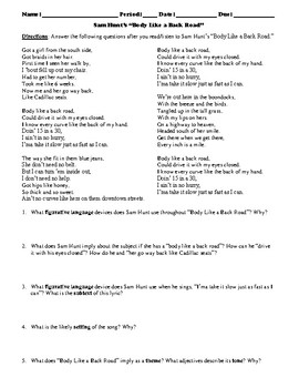 "Sam Hunt's ""Body Like a Back Road"" Poem Study Guide and Multiple Choice Quiz"