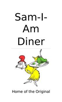 Sam-I-Am Diner sign and menu