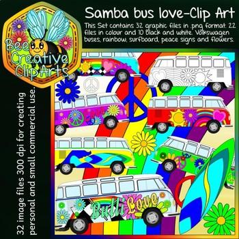 Samba bus love - Clip Art